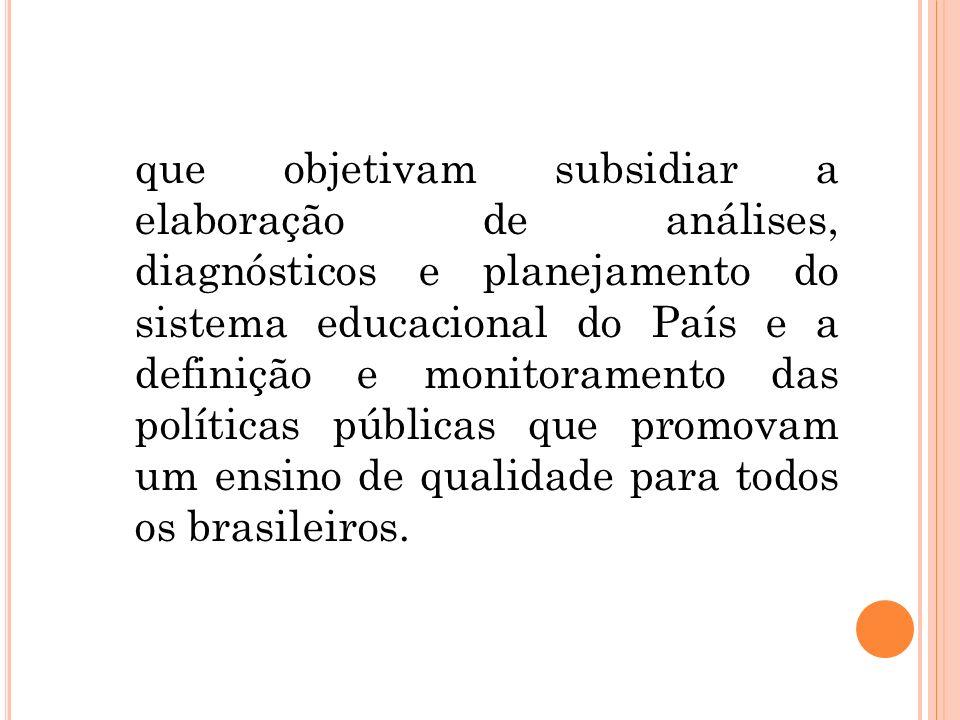 que objetivam subsidiar a elaboração de análises, diagnósticos e planejamento do sistema educacional do País e a definição e monitoramento das políticas públicas que promovam um ensino de qualidade para todos os brasileiros.