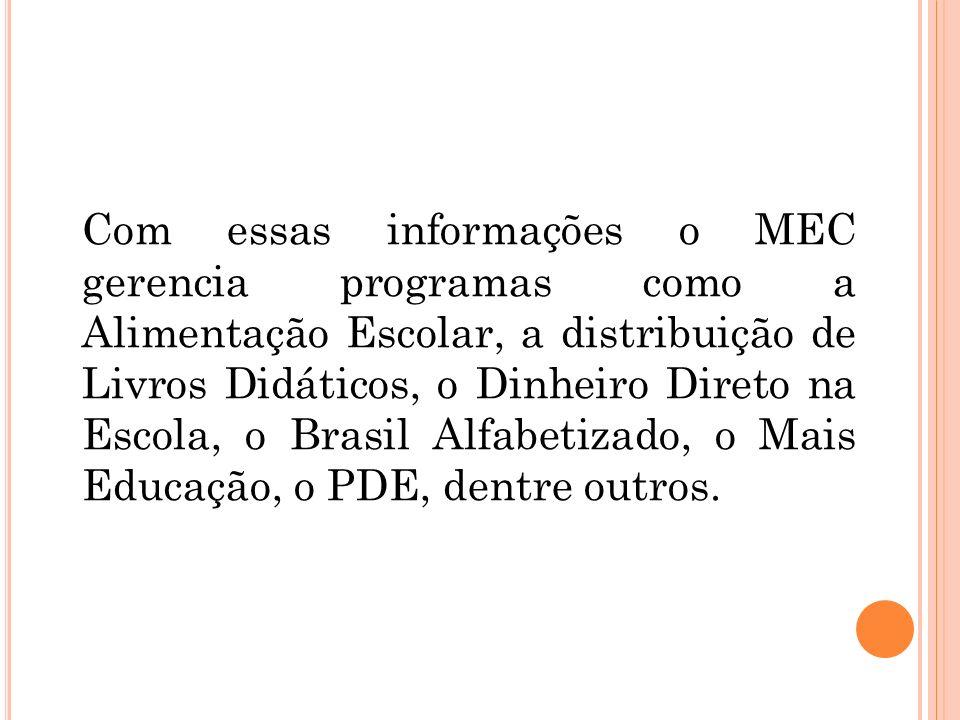 Com essas informações o MEC gerencia programas como a Alimentação Escolar, a distribuição de Livros Didáticos, o Dinheiro Direto na Escola, o Brasil Alfabetizado, o Mais Educação, o PDE, dentre outros.