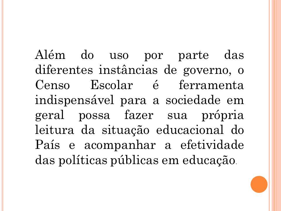 Além do uso por parte das diferentes instâncias de governo, o Censo Escolar é ferramenta indispensável para a sociedade em geral possa fazer sua própria leitura da situação educacional do País e acompanhar a efetividade das políticas públicas em educação.