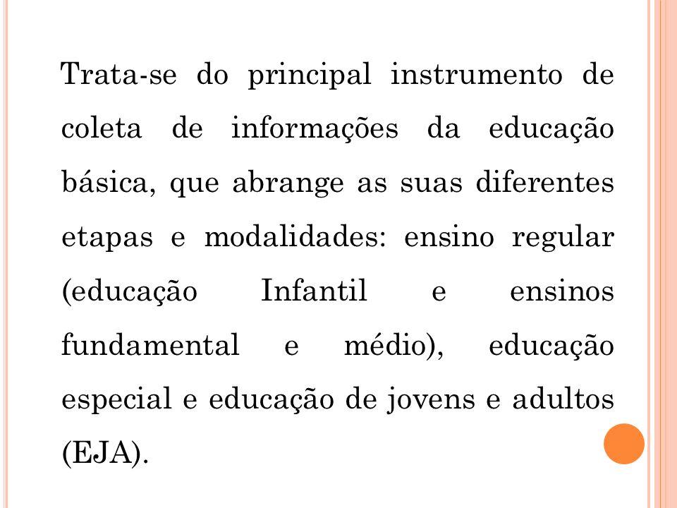 Trata-se do principal instrumento de coleta de informações da educação básica, que abrange as suas diferentes etapas e modalidades: ensino regular (educação Infantil e ensinos fundamental e médio), educação especial e educação de jovens e adultos (EJA).