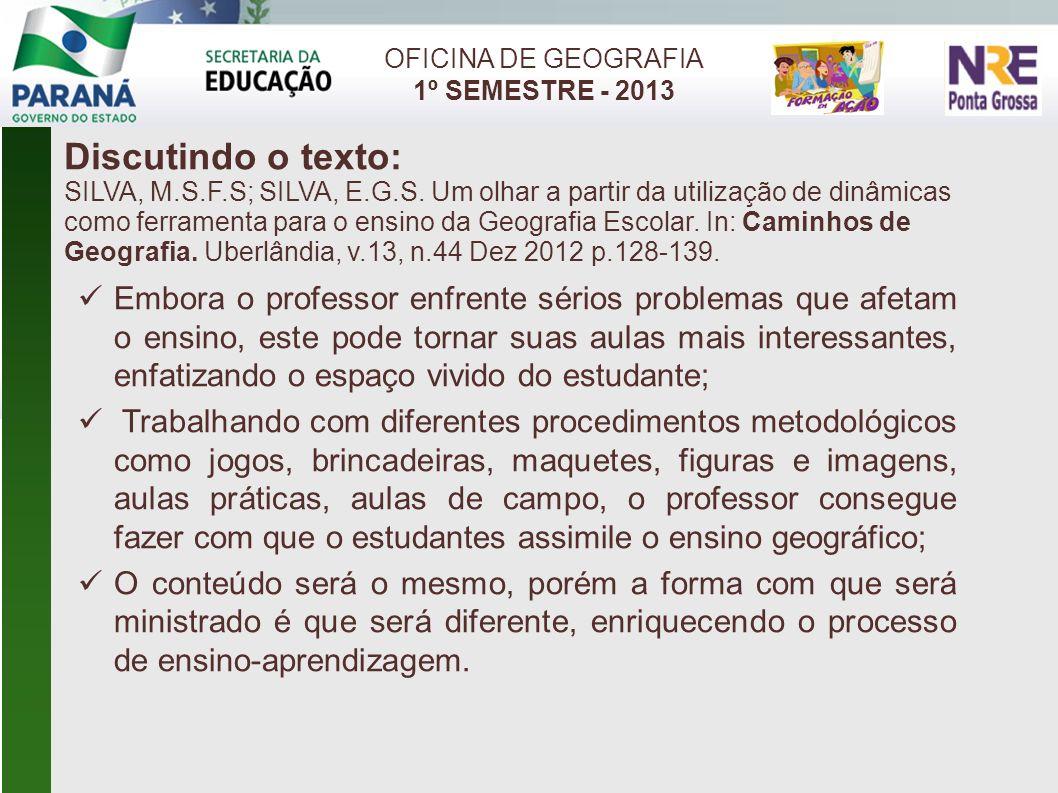 OFICINA DE GEOGRAFIA 1º SEMESTRE - 2013. Discutindo o texto: