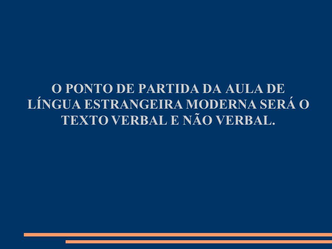 O PONTO DE PARTIDA DA AULA DE LÍNGUA ESTRANGEIRA MODERNA SERÁ O TEXTO VERBAL E NÃO VERBAL.