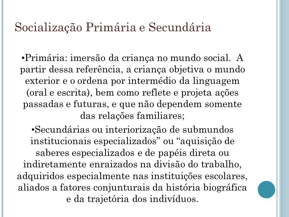 Socialização Primária e Secundária