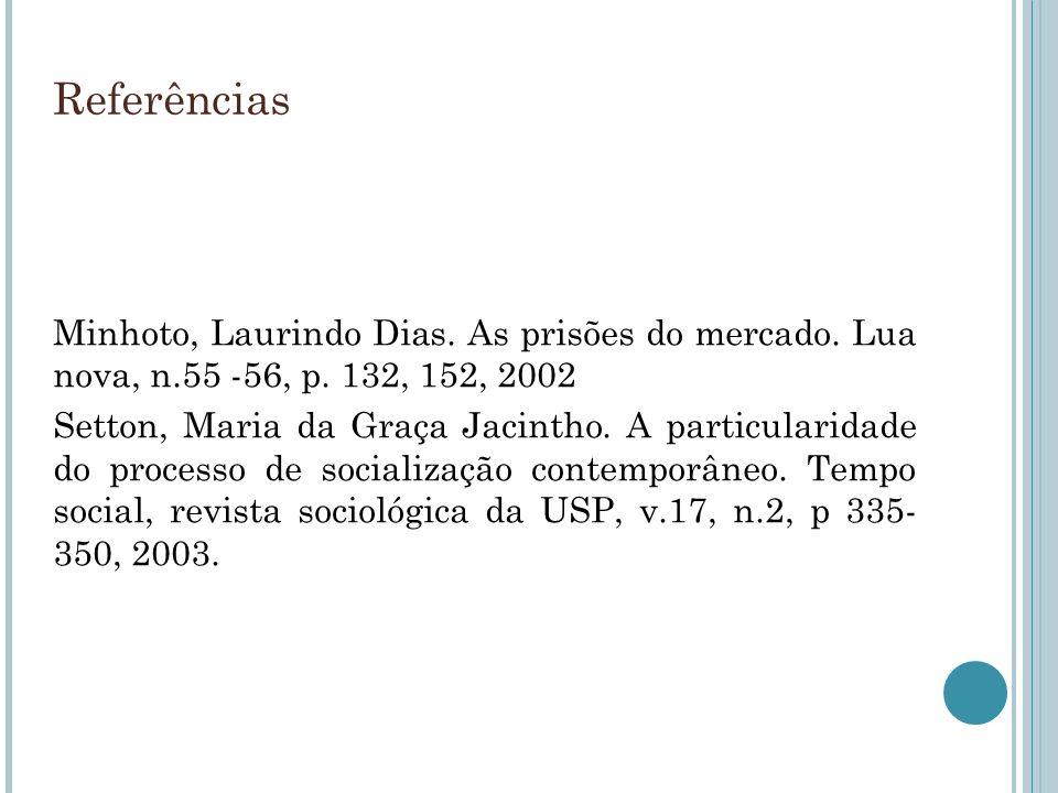 ReferênciasMinhoto, Laurindo Dias. As prisões do mercado. Lua nova, n.55 -56, p. 132, 152, 2002.