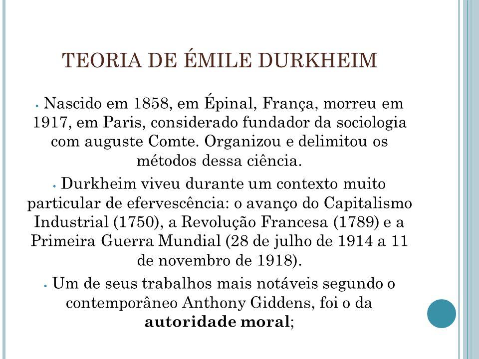 TEORIA DE ÉMILE DURKHEIM