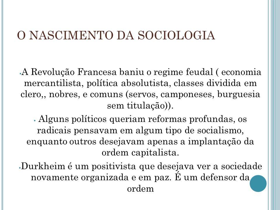O NASCIMENTO DA SOCIOLOGIA