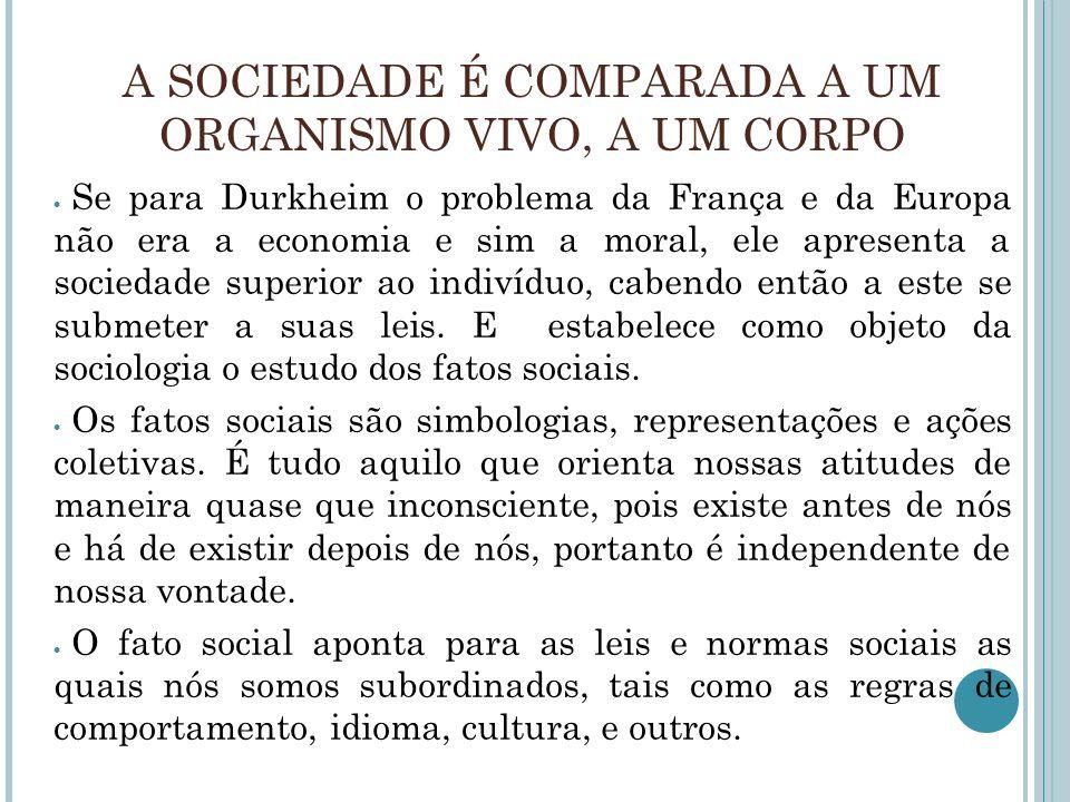 A SOCIEDADE É COMPARADA A UM ORGANISMO VIVO, A UM CORPO