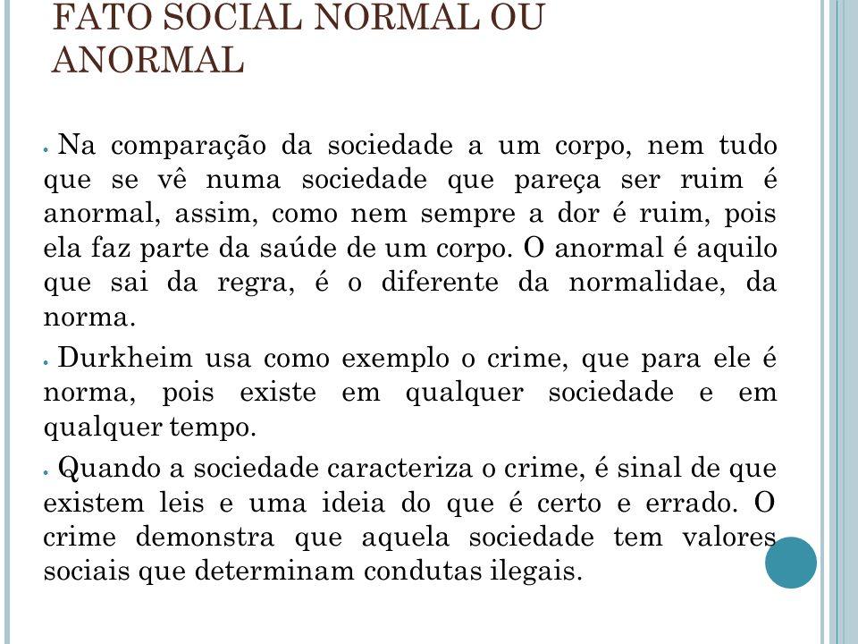 FATO SOCIAL NORMAL OU ANORMAL