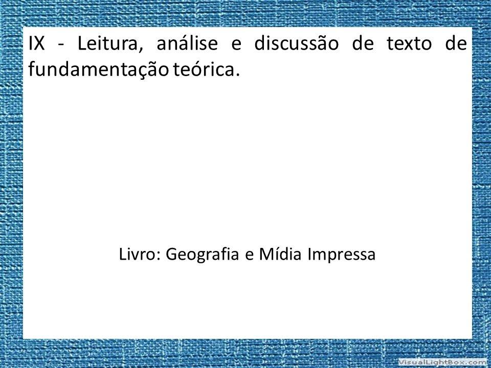 Livro: Geografia e Mídia Impressa