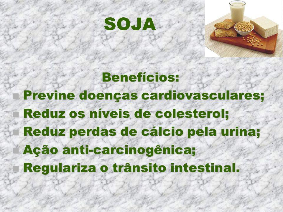 SOJA Benefícios: Previne doenças cardiovasculares;