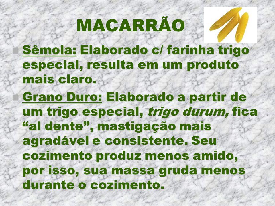 MACARRÃO Sêmola: Elaborado c/ farinha trigo especial, resulta em um produto mais claro.