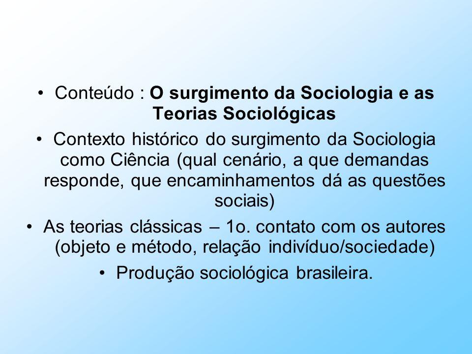 Conteúdo : O surgimento da Sociologia e as Teorias Sociológicas