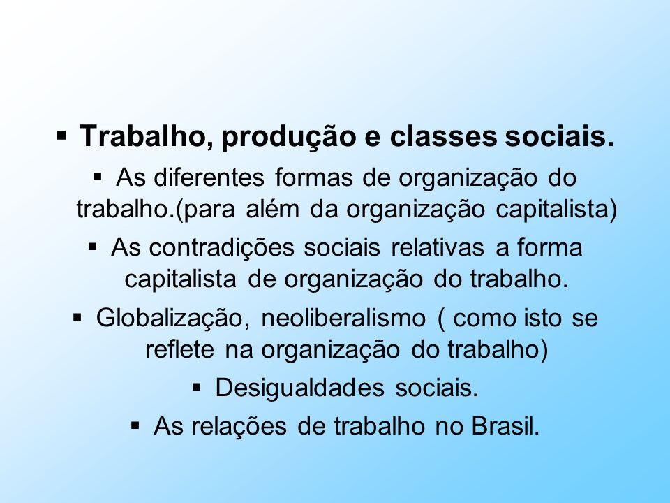 Trabalho, produção e classes sociais.