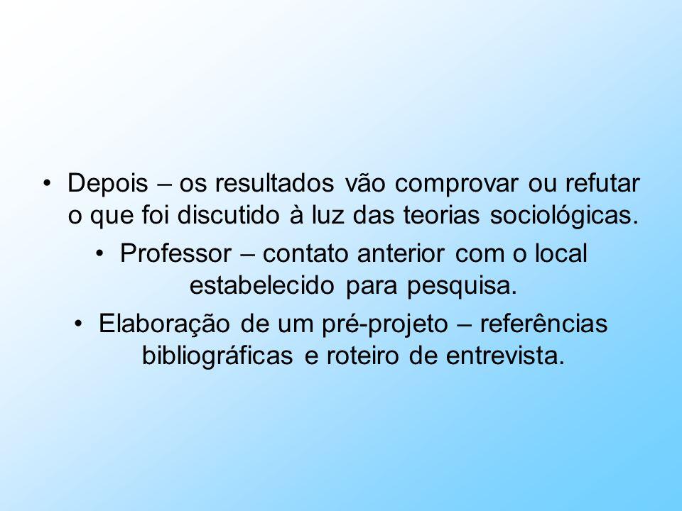 Professor – contato anterior com o local estabelecido para pesquisa.