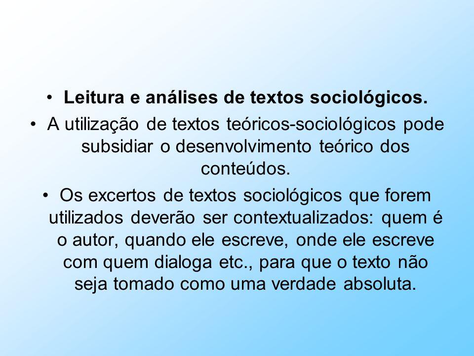Leitura e análises de textos sociológicos.
