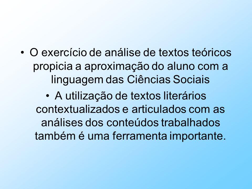 O exercício de análise de textos teóricos propicia a aproximação do aluno com a linguagem das Ciências Sociais