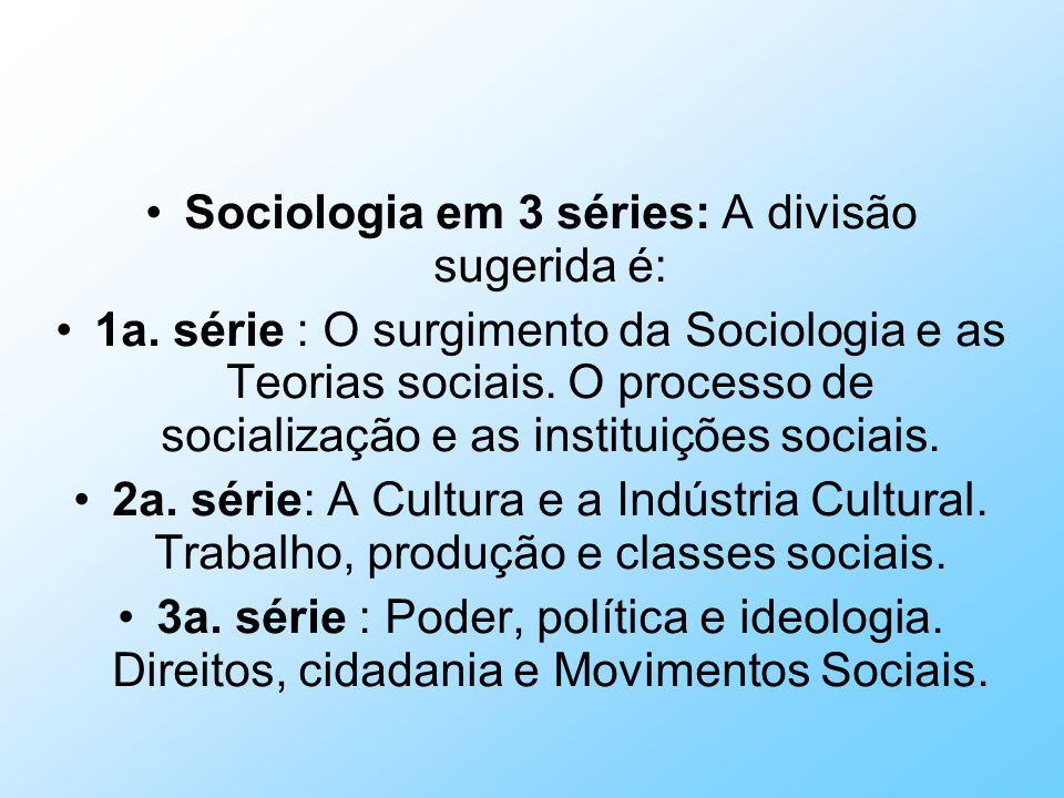 Sociologia em 3 séries: A divisão sugerida é: