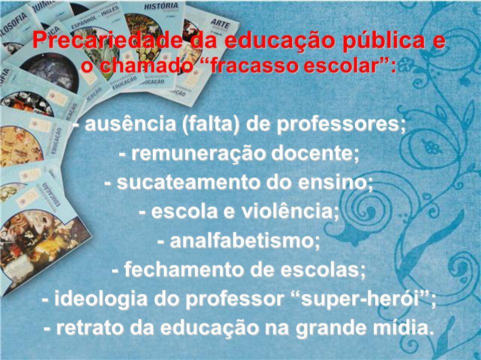 Precariedade da educação pública e o chamado fracasso escolar :