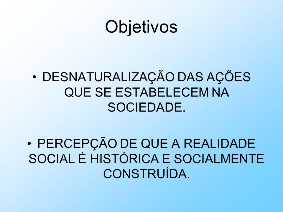 DESNATURALIZAÇÃO DAS AÇÕES QUE SE ESTABELECEM NA SOCIEDADE.