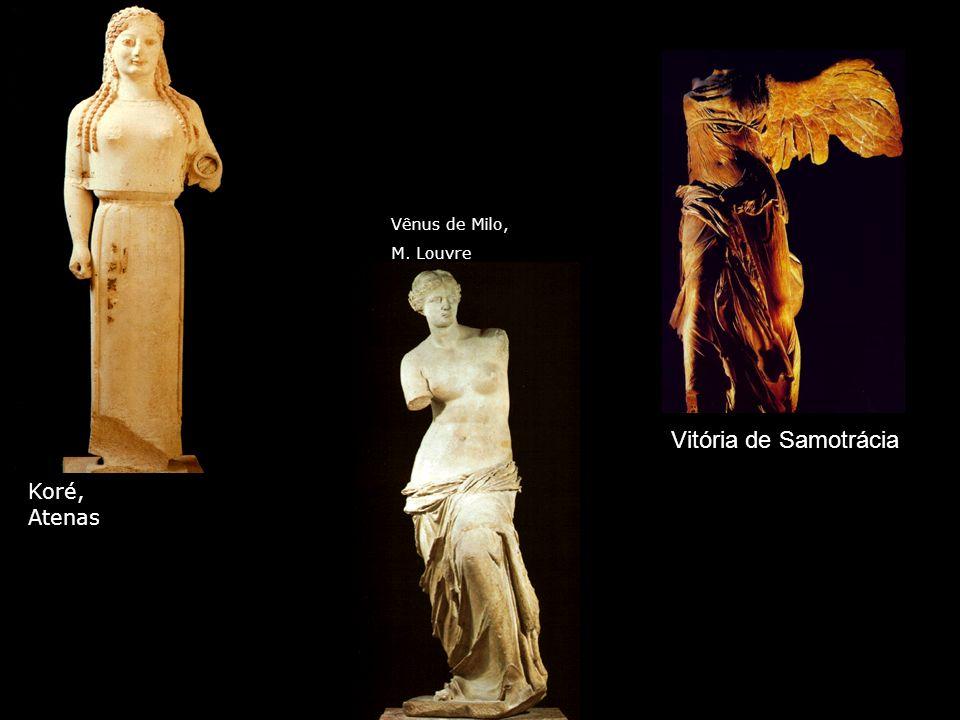 Vênus de Milo, M. Louvre Vitória de Samotrácia Koré, Atenas