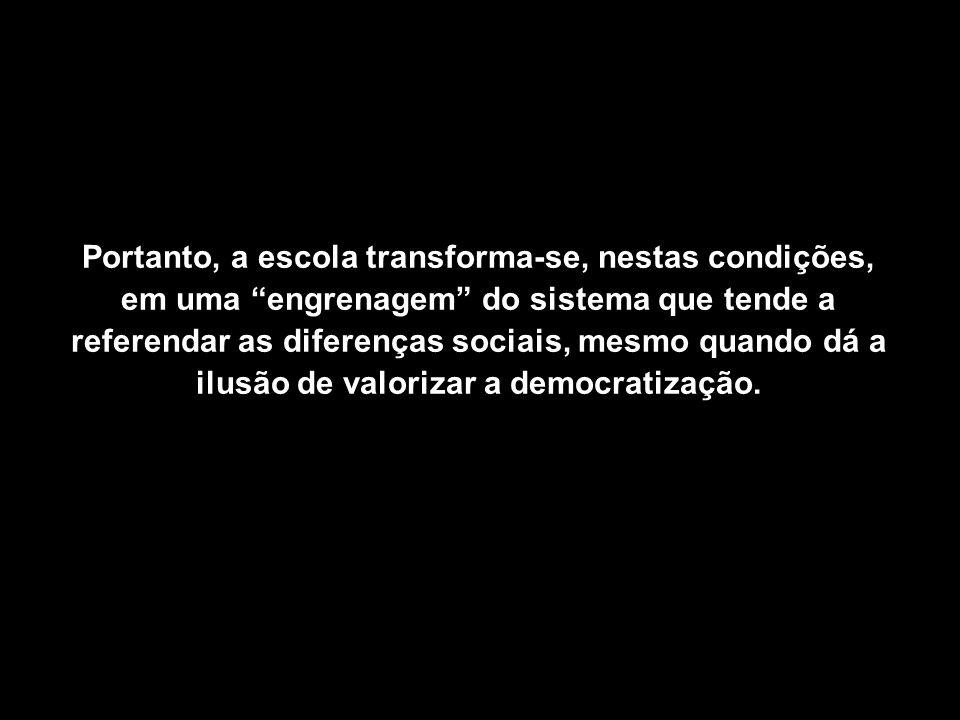 Portanto, a escola transforma-se, nestas condições, em uma engrenagem do sistema que tende a referendar as diferenças sociais, mesmo quando dá a ilusão de valorizar a democratização.
