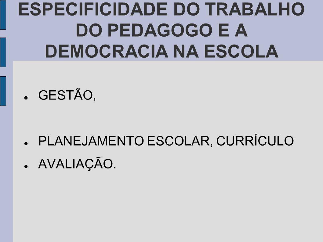 ESPECIFICIDADE DO TRABALHO DO PEDAGOGO E A DEMOCRACIA NA ESCOLA