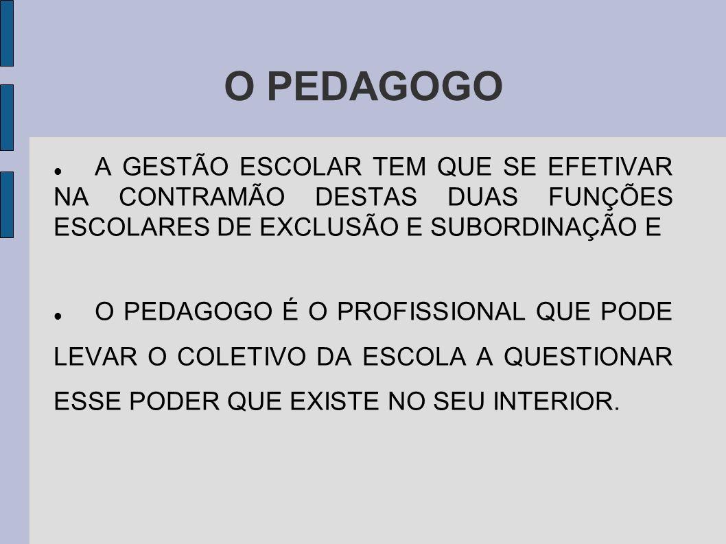 O PEDAGOGO A GESTÃO ESCOLAR TEM QUE SE EFETIVAR NA CONTRAMÃO DESTAS DUAS FUNÇÕES ESCOLARES DE EXCLUSÃO E SUBORDINAÇÃO E.