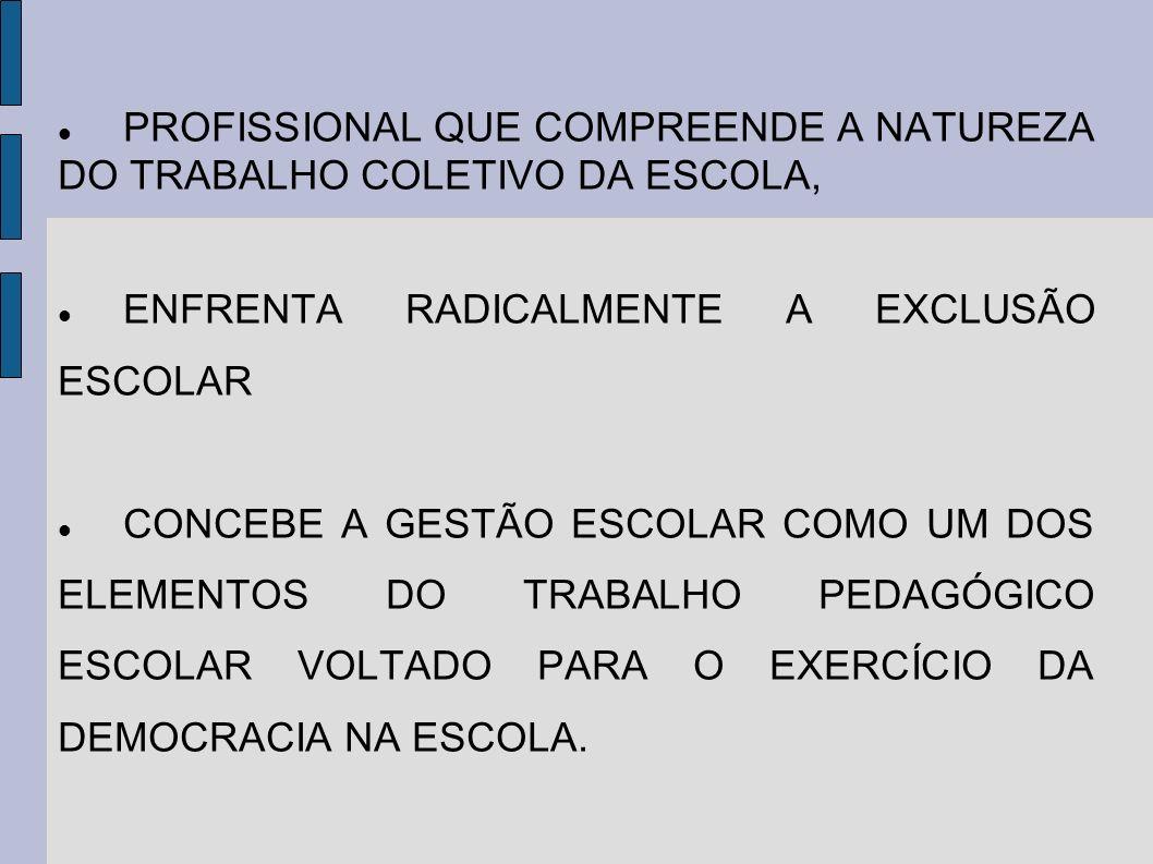 PROFISSIONAL QUE COMPREENDE A NATUREZA DO TRABALHO COLETIVO DA ESCOLA,