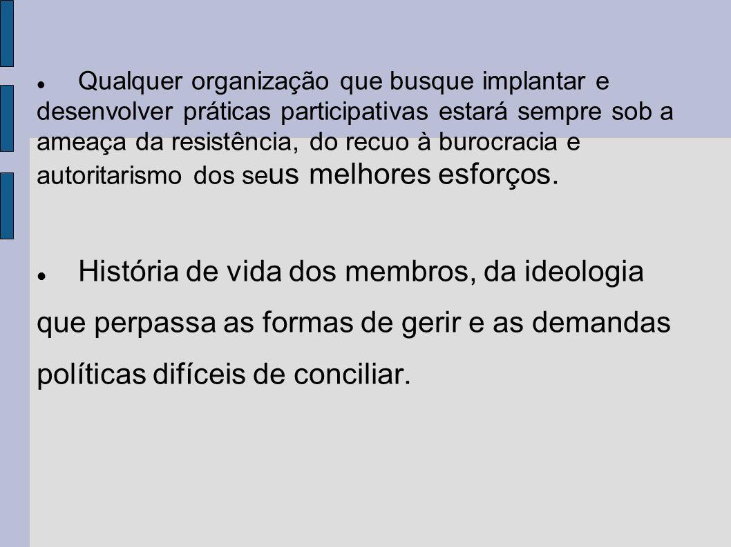 Qualquer organização que busque implantar e desenvolver práticas participativas estará sempre sob a ameaça da resistência, do recuo à burocracia e autoritarismo dos seus melhores esforços.