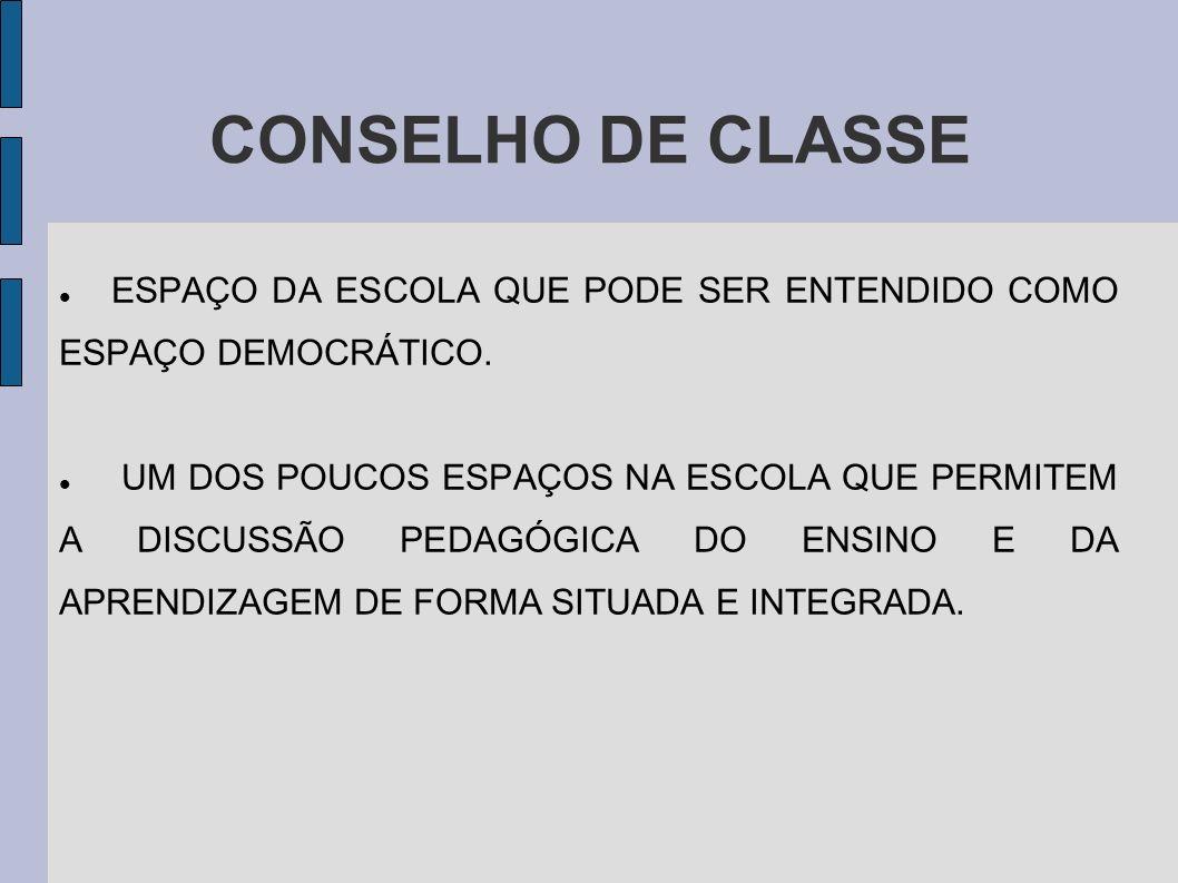 CONSELHO DE CLASSE ESPAÇO DA ESCOLA QUE PODE SER ENTENDIDO COMO ESPAÇO DEMOCRÁTICO.