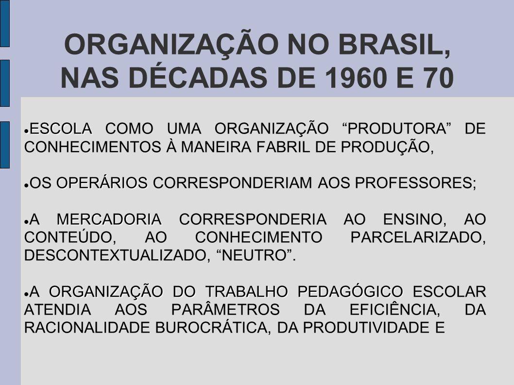 ORGANIZAÇÃO NO BRASIL, NAS DÉCADAS DE 1960 E 70