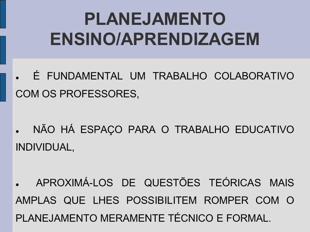 PLANEJAMENTO ENSINO/APRENDIZAGEM