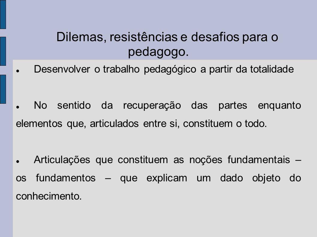 Dilemas, resistências e desafios para o pedagogo.