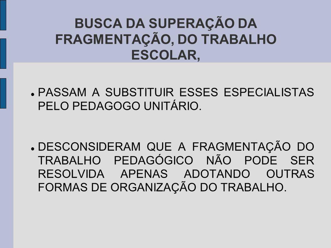 BUSCA DA SUPERAÇÃO DA FRAGMENTAÇÃO, DO TRABALHO ESCOLAR,