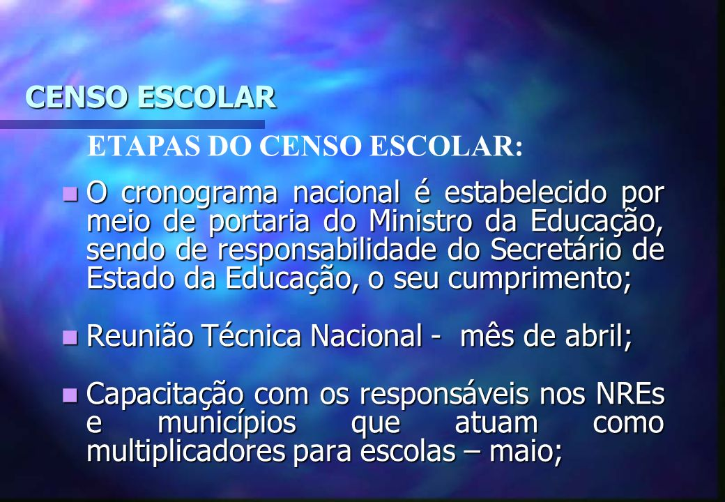 CENSO ESCOLAR ETAPAS DO CENSO ESCOLAR: