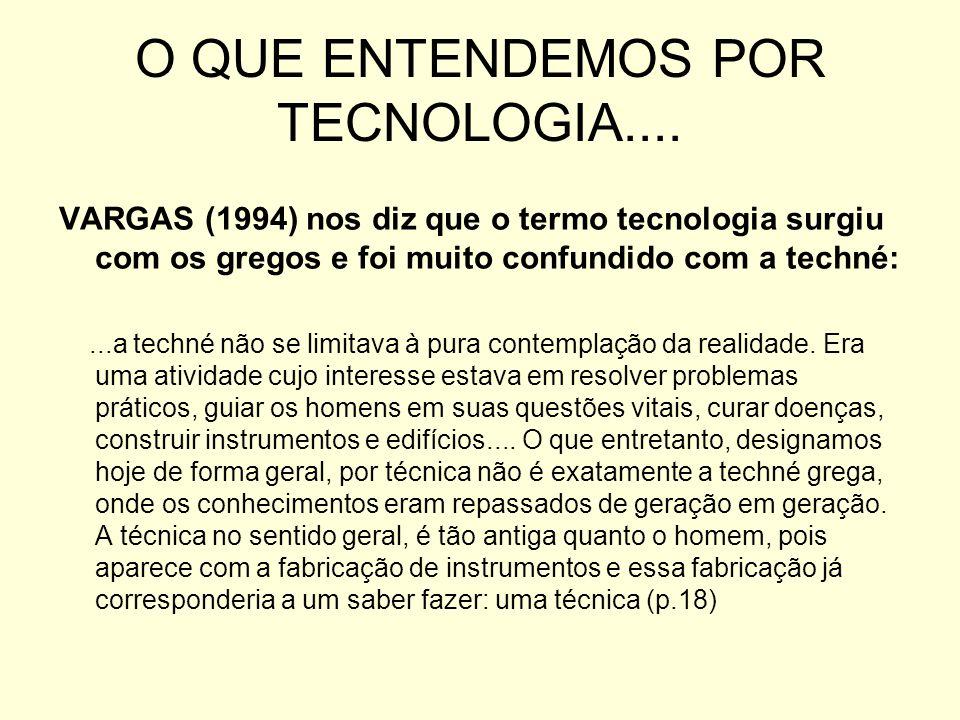 O QUE ENTENDEMOS POR TECNOLOGIA....