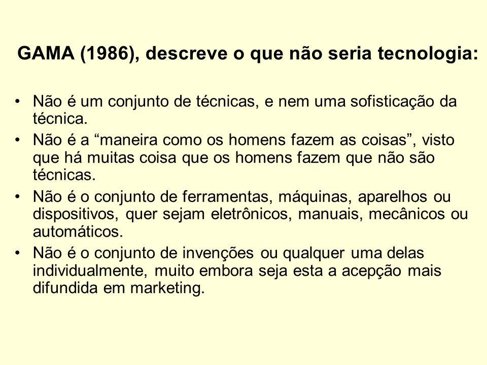 GAMA (1986), descreve o que não seria tecnologia: