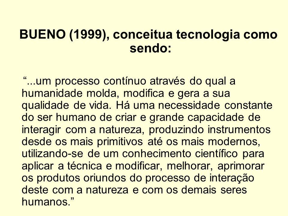 BUENO (1999), conceitua tecnologia como sendo: