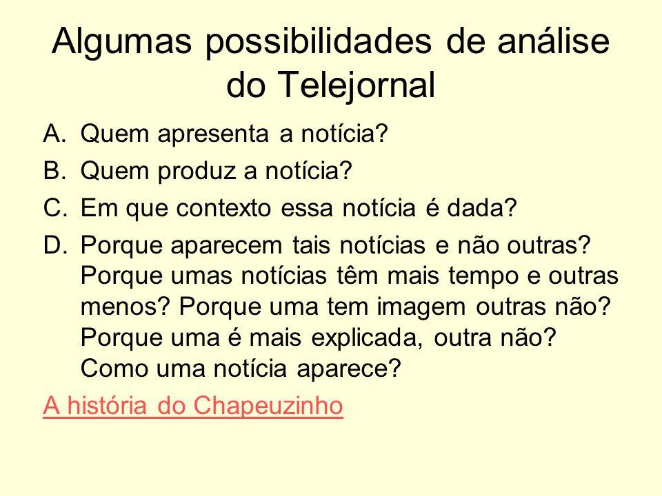Algumas possibilidades de análise do Telejornal