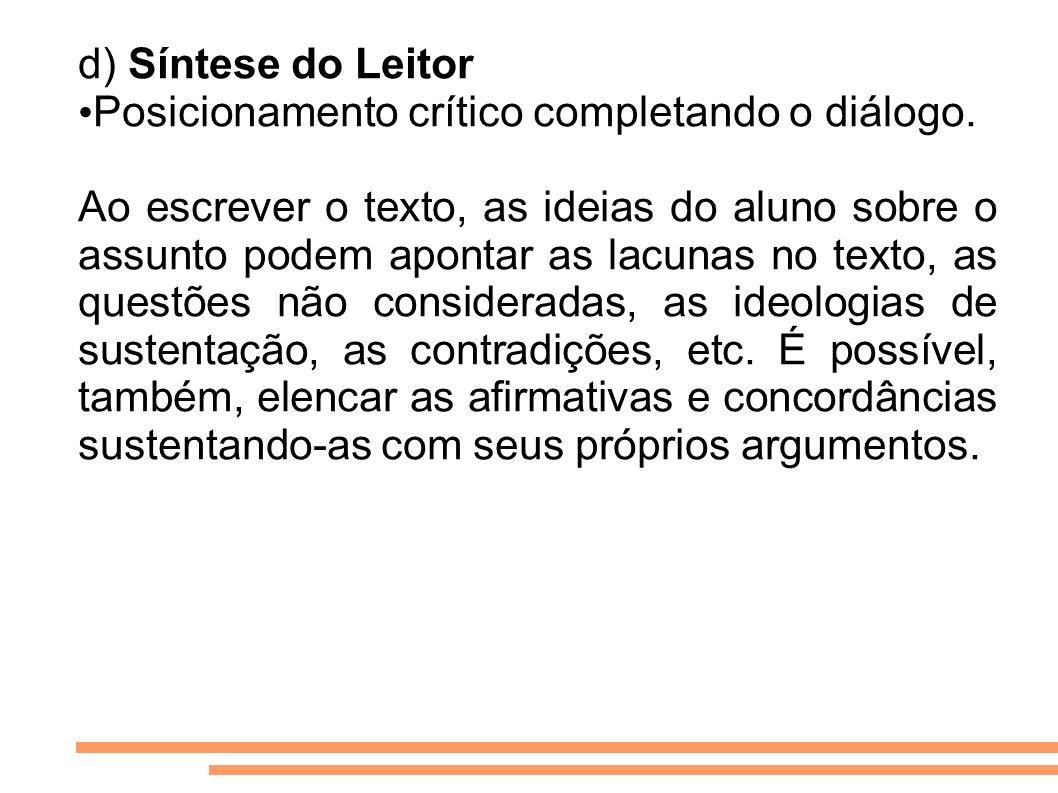 d) Síntese do Leitor Posicionamento crítico completando o diálogo.