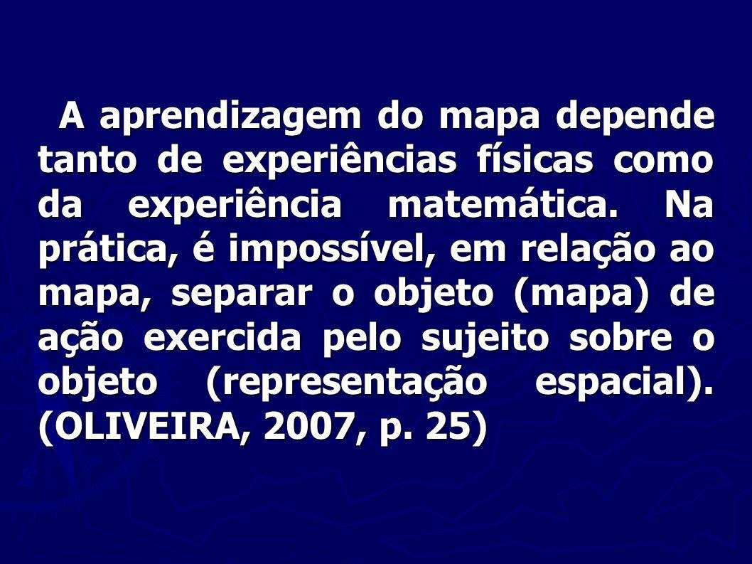 A aprendizagem do mapa depende tanto de experiências físicas como da experiência matemática.