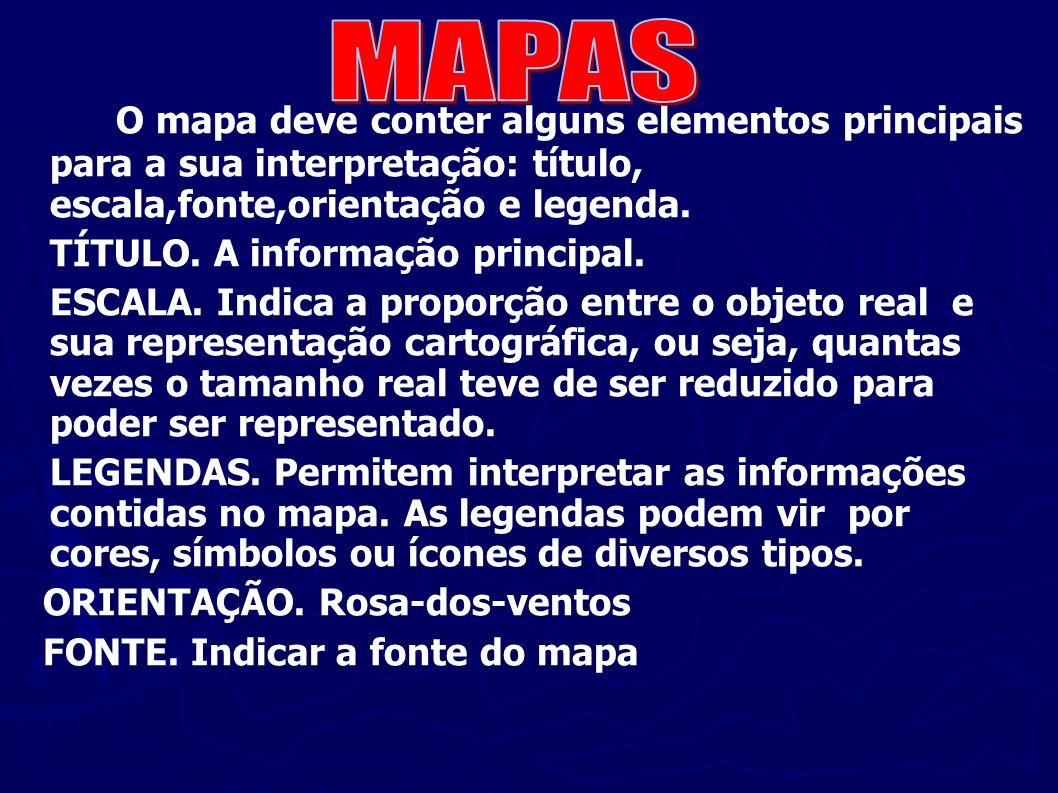 MAPAS O mapa deve conter alguns elementos principais para a sua interpretação: título, escala,fonte,orientação e legenda.