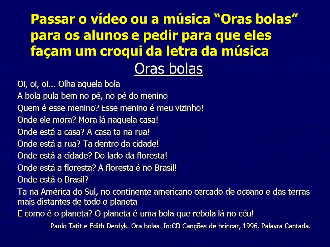 Passar o vídeo ou a música Oras bolas para os alunos e pedir para que eles façam um croqui da letra da música