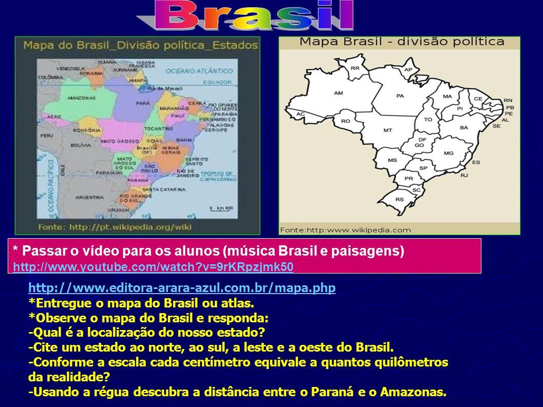 Brasil . * Passar o vídeo para os alunos (música Brasil e paisagens)