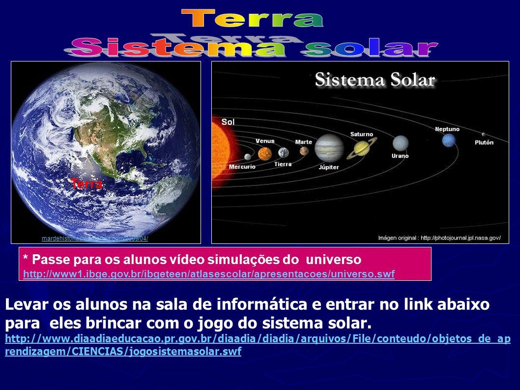 Terra Sistema solar. . Terra. mardehistorias.wordpress.com/2009/04/ * Passe para os alunos vídeo simulações do universo.