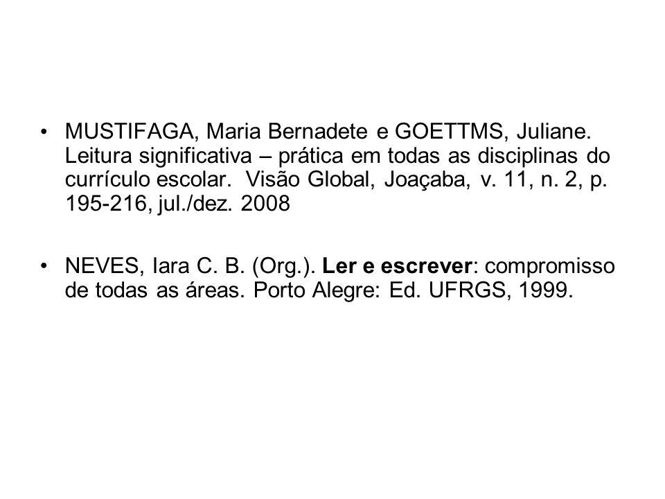MUSTIFAGA, Maria Bernadete e GOETTMS, Juliane