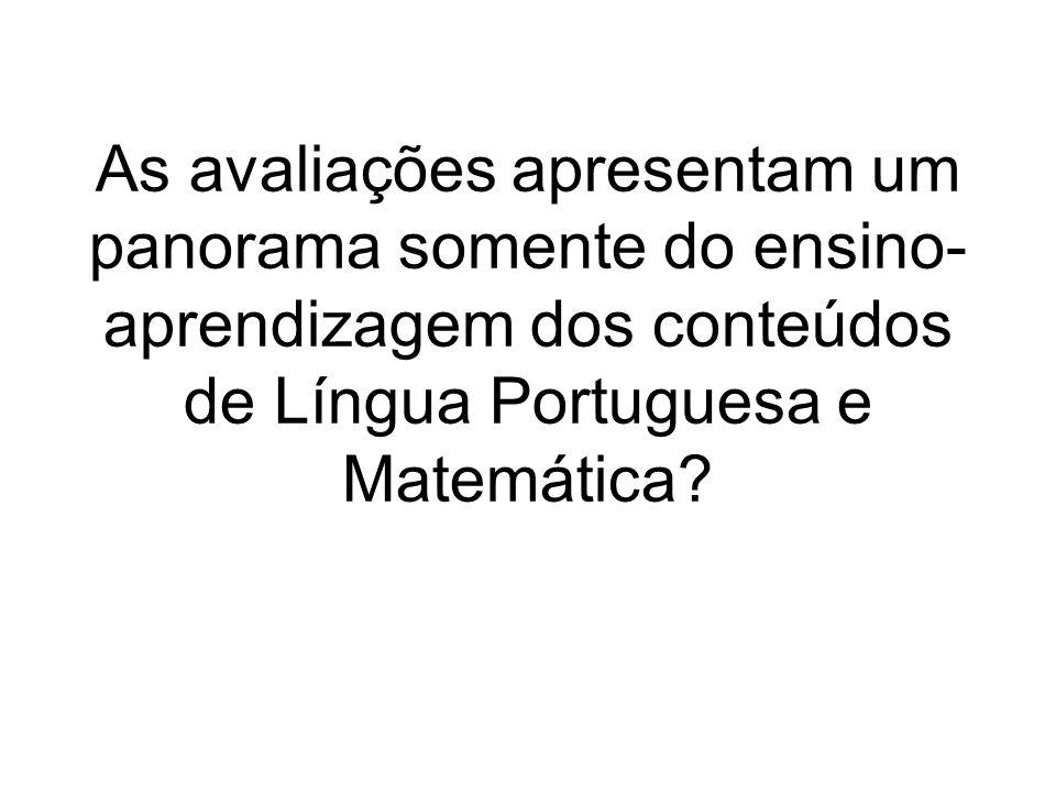 As avaliações apresentam um panorama somente do ensino-aprendizagem dos conteúdos de Língua Portuguesa e Matemática