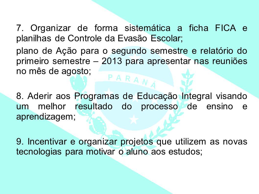 7. Organizar de forma sistemática a ficha FICA e planilhas de Controle da Evasão Escolar;