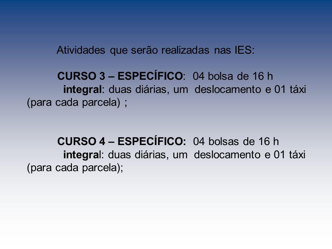 Atividades que serão realizadas nas IES: