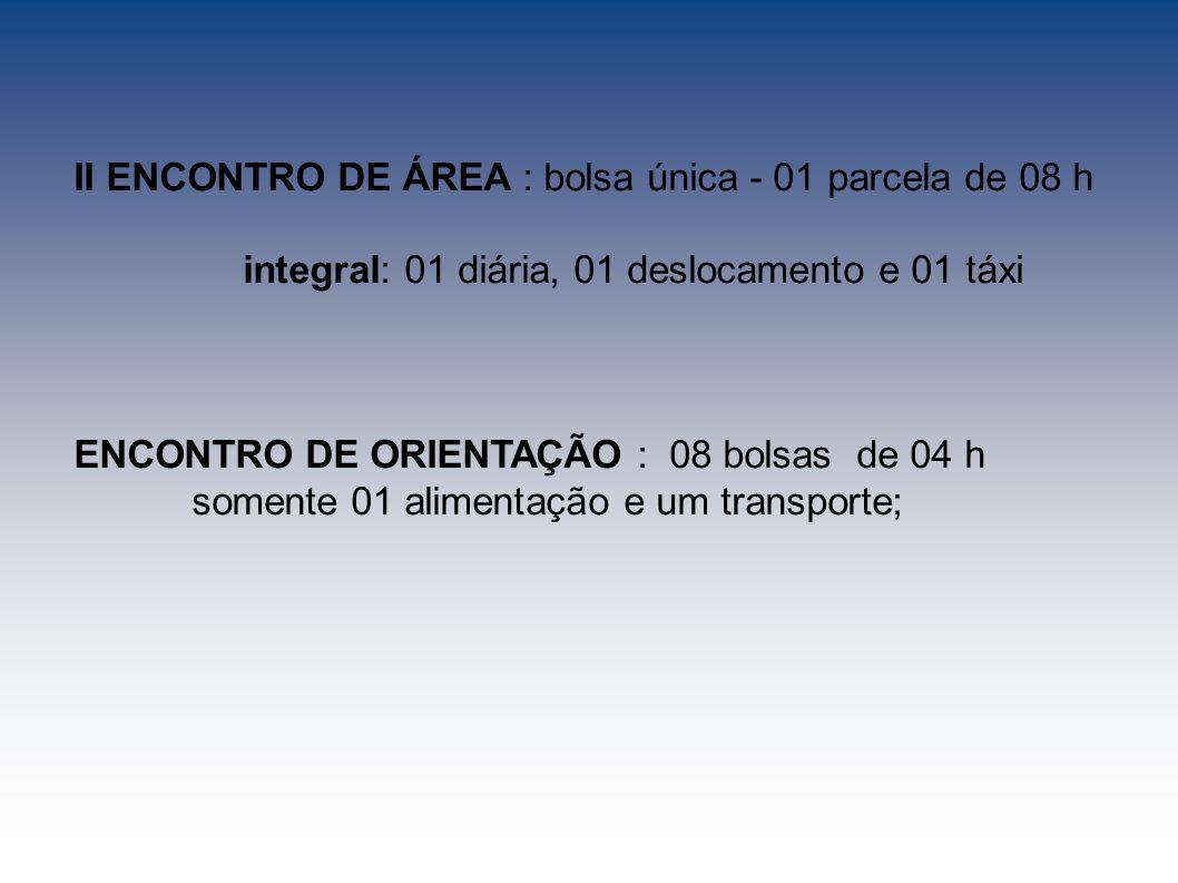 II ENCONTRO DE ÁREA : bolsa única - 01 parcela de 08 h